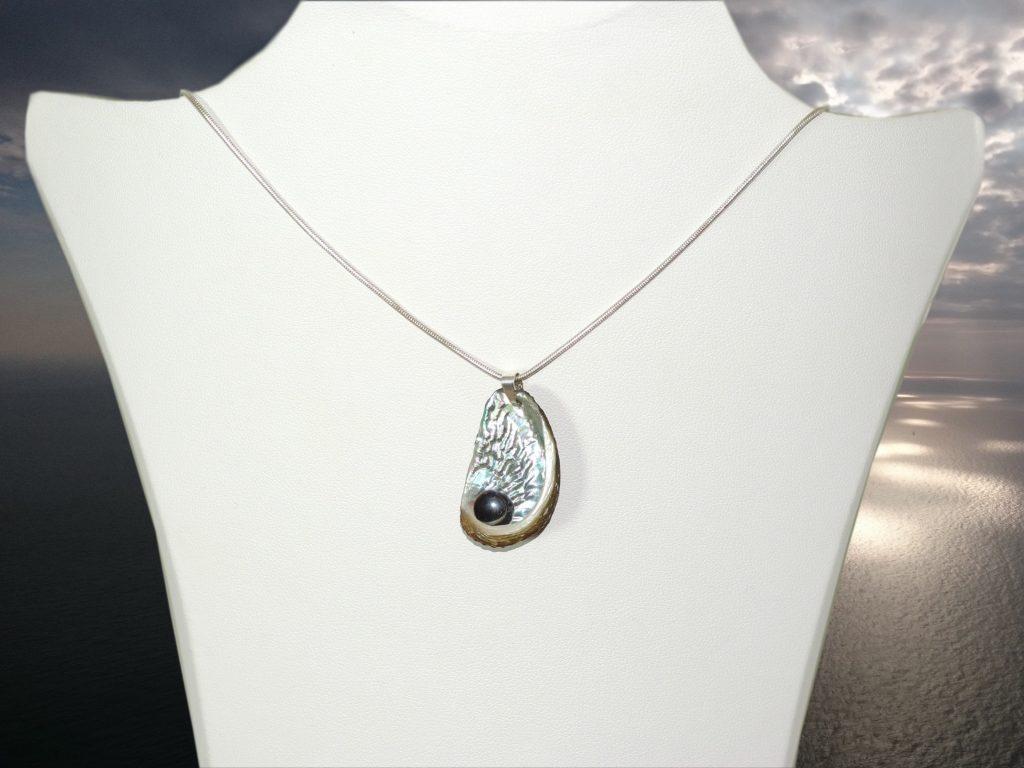chaîne argentée avec un ependentif ormeau très brillant . Perle noire au coeur deu coquillage. Présenté sur fond de mer et ciel argentés