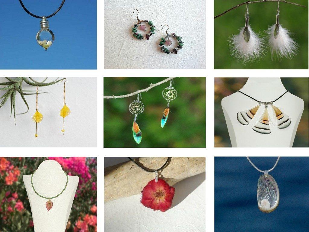 Galerie de créations avec des exemples de bijoux des catégories plumes fleurs, coquillages et pierres.