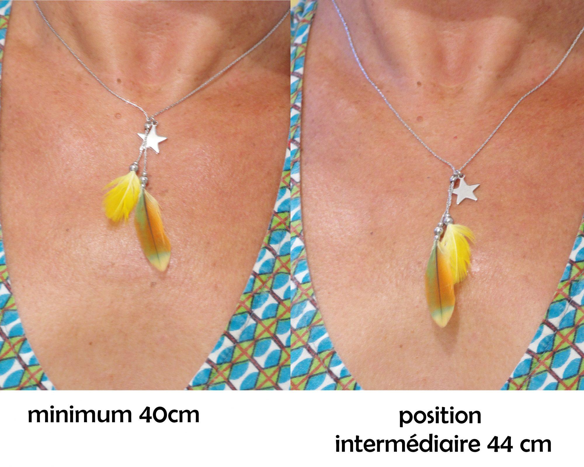 le collier Starlette est vu porté de deux façons : au plus court (40 cm)et en position intermédiaire (44cm)