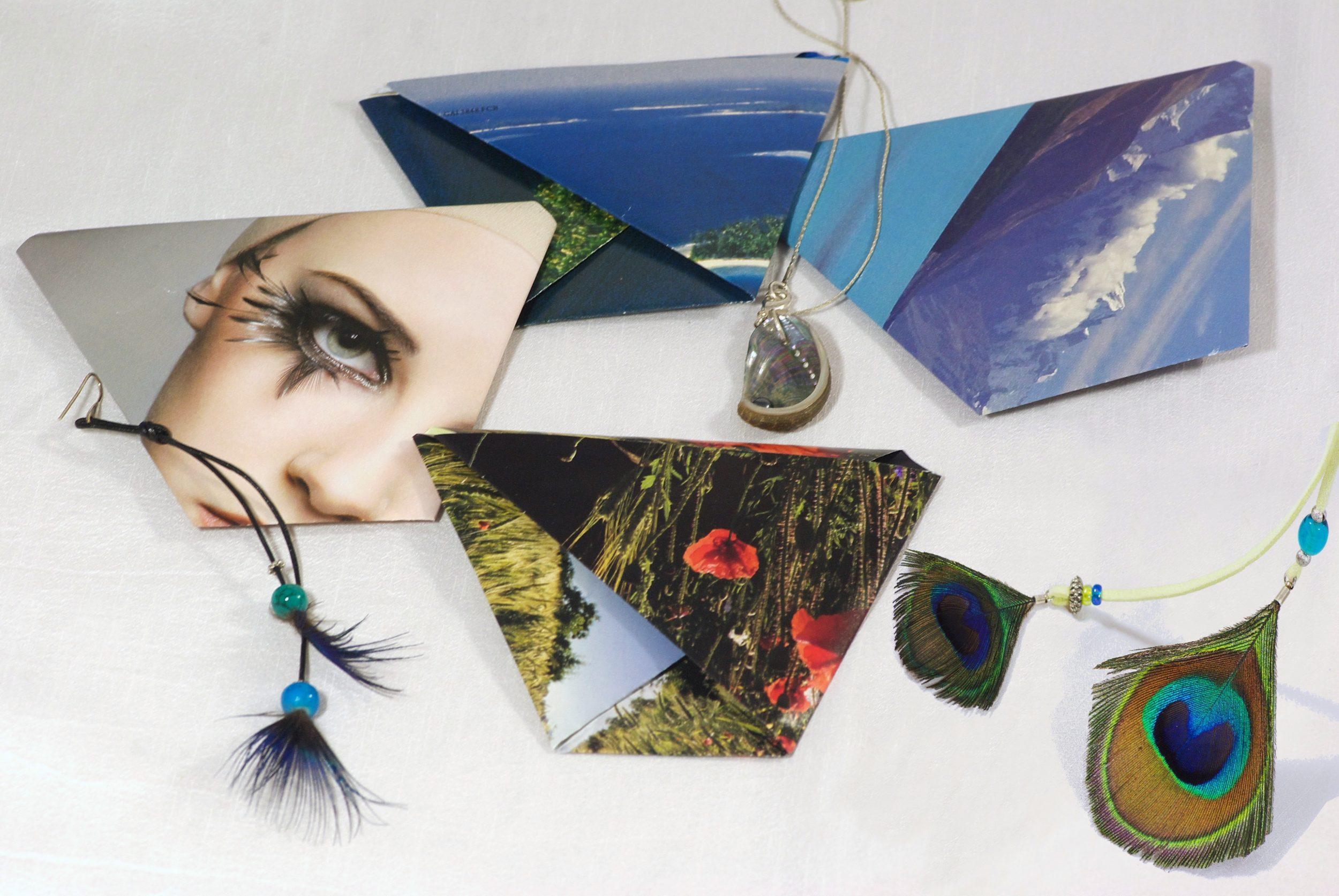 emballages pochettes origami originales , papier récup de magasines, thème nature