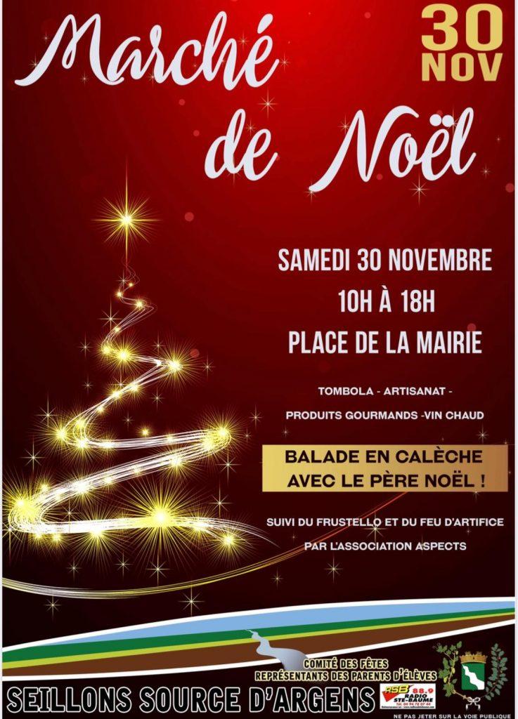 affiche du marché de Noël de seillons 30 novembre 2019