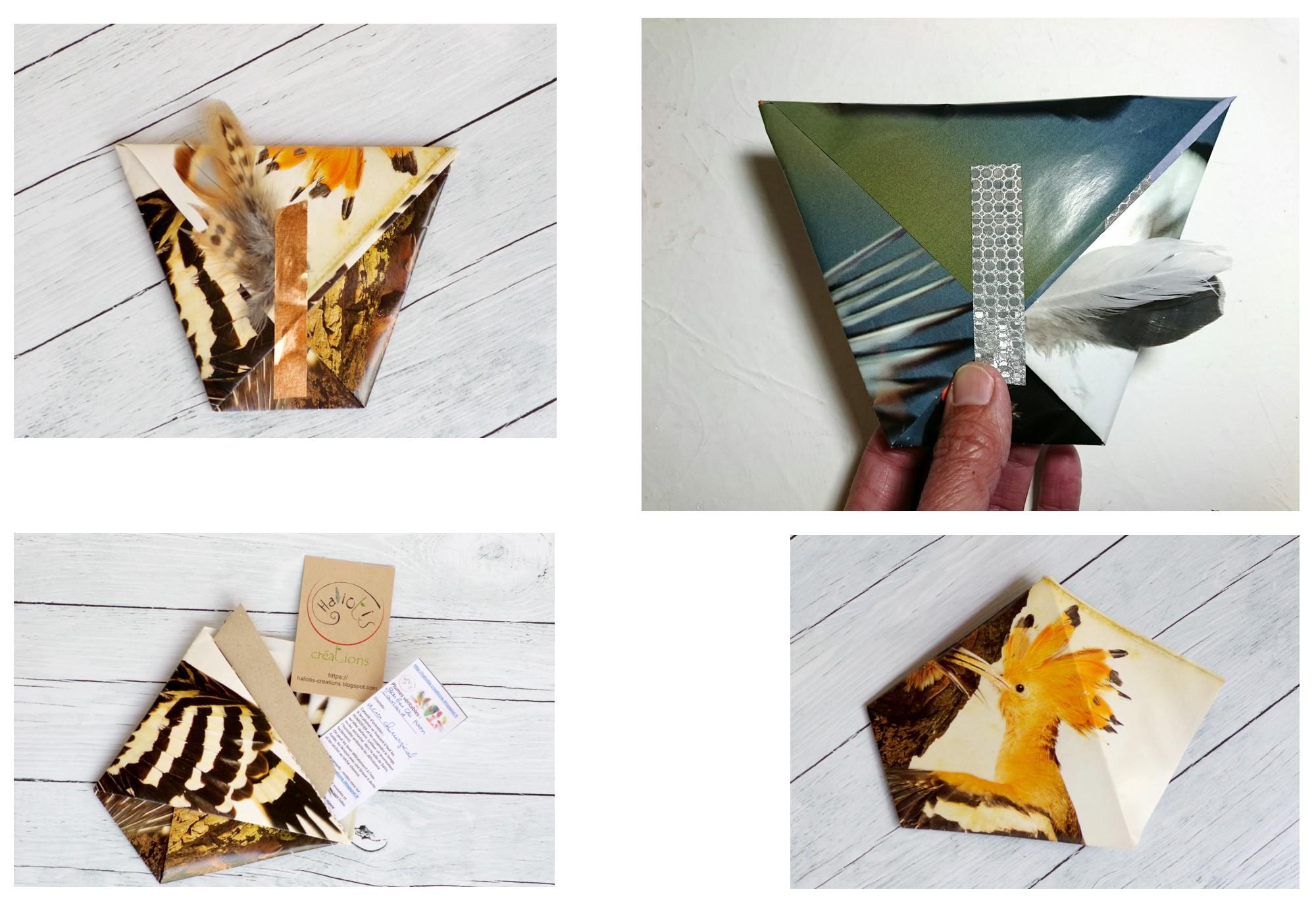 emballages pochettes origami originales , papier récup de magasines
