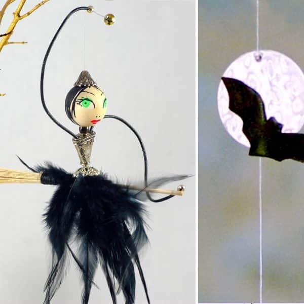 jolie petite sorcière, à suspender, avec une lune et une chauve-souris