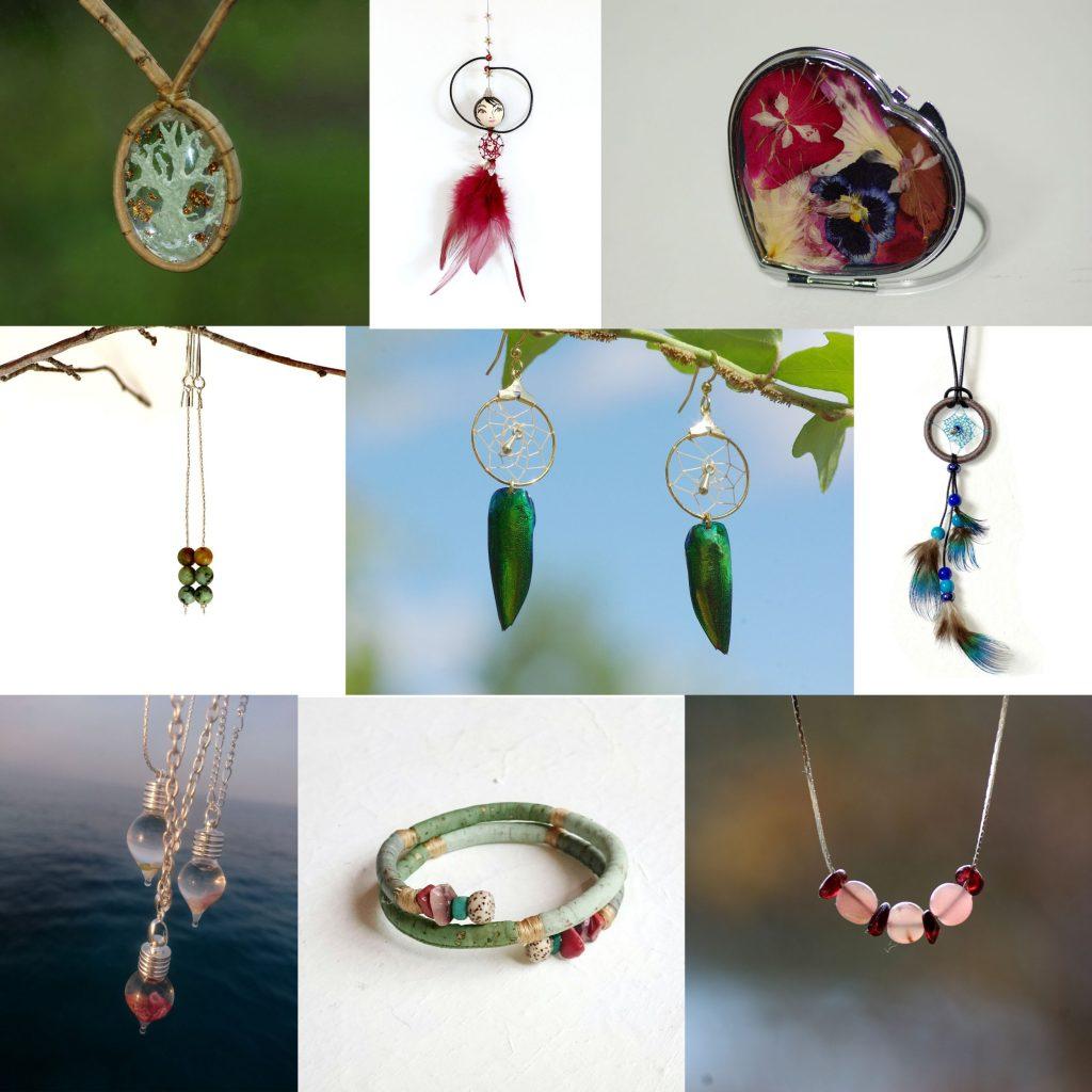 patchwork de créations variées : colliers pierres, liège, dreamcatcher, fioles, braceet liège, miroir de sac, fée de plumes