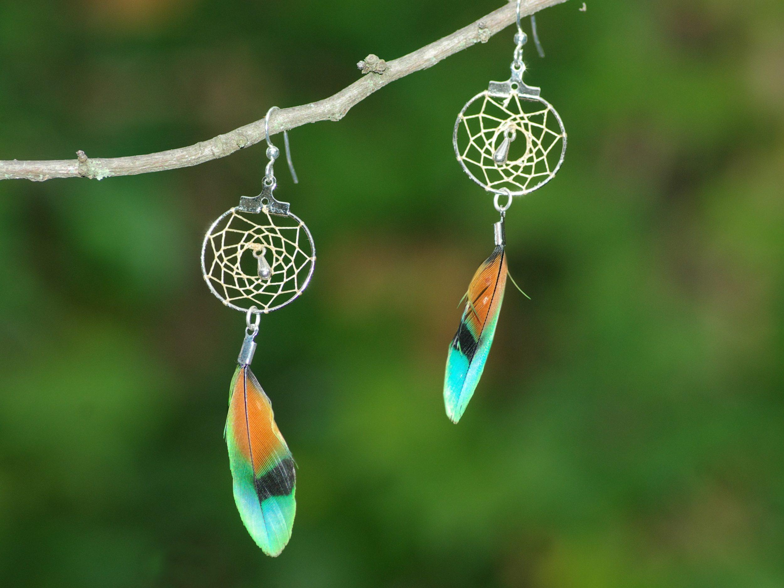 Boucles d'oreilles dreamcatcher à plumes multicolores, fon nature