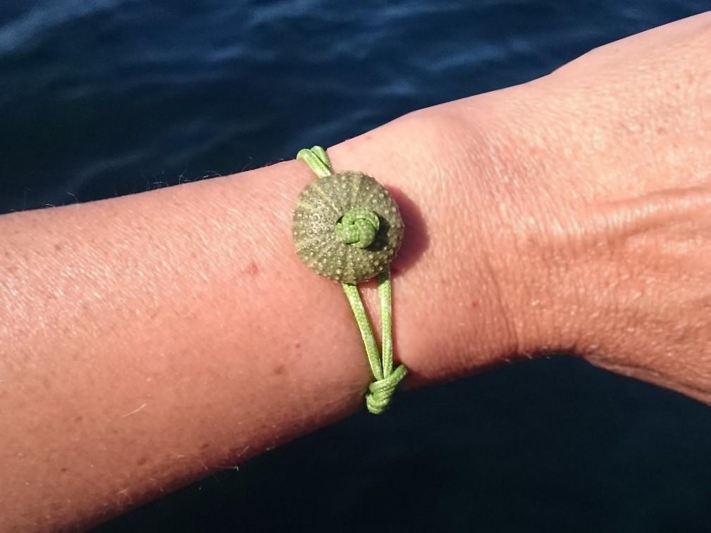 bracelet avec un ousrin vert et cordelette verte marine nouée. l'oursin sert de fermoir en passant dans une boucle de la cordelette