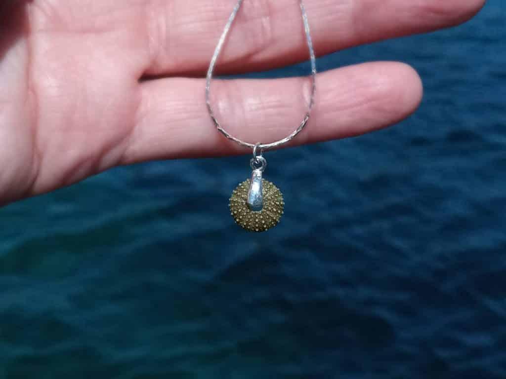 collier avec un petit pendentif mini oursin vert et une chaîne fine en argent