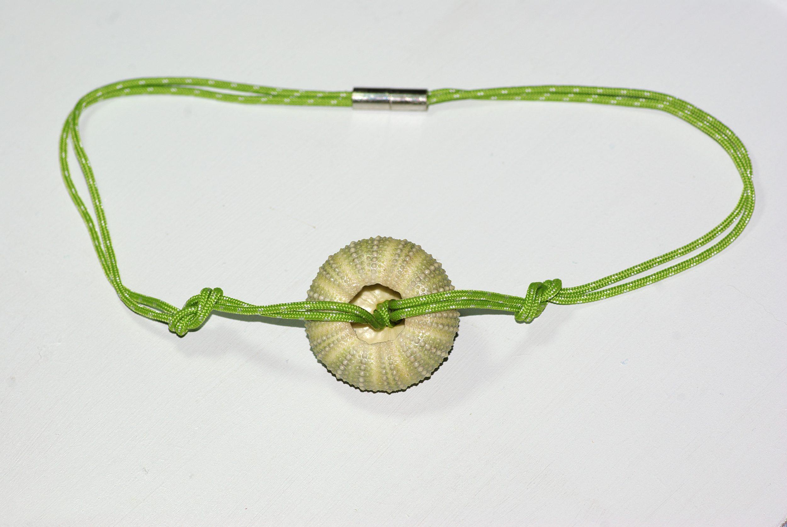 collier en cordelette marine verte nouée et pendentif oursin, on voit le dos de l'oursin