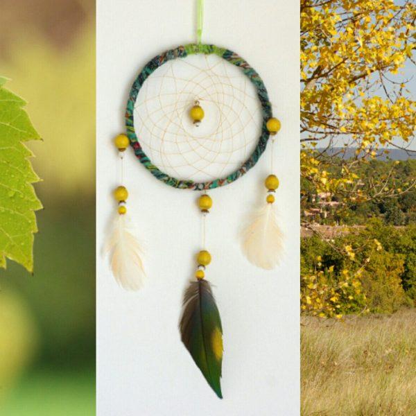 dreamcadreamcatcher verte et jaune associé à deux photos nature à dominante jaune et vert