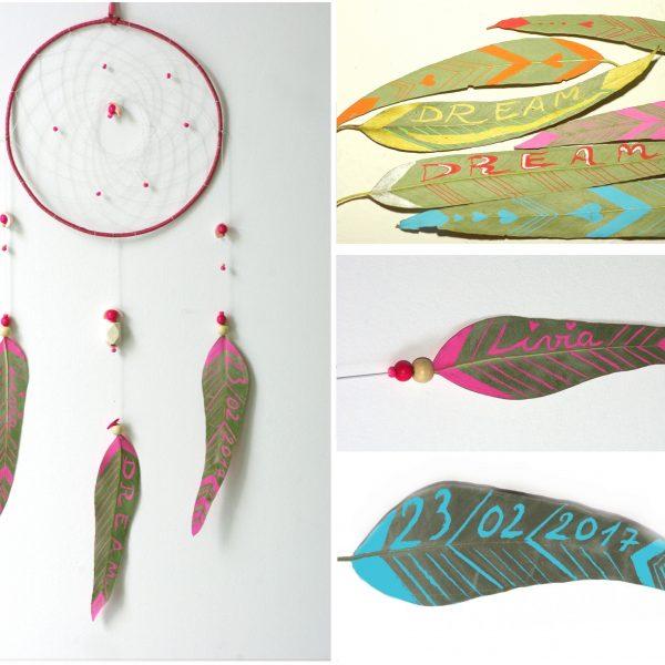 Dreamcatcher personnalisé : les plumes sont remplacées par des feuilles peintes de graphismes,prénoms, dates de naissances , etc, il y a un grand choix de couleurs.