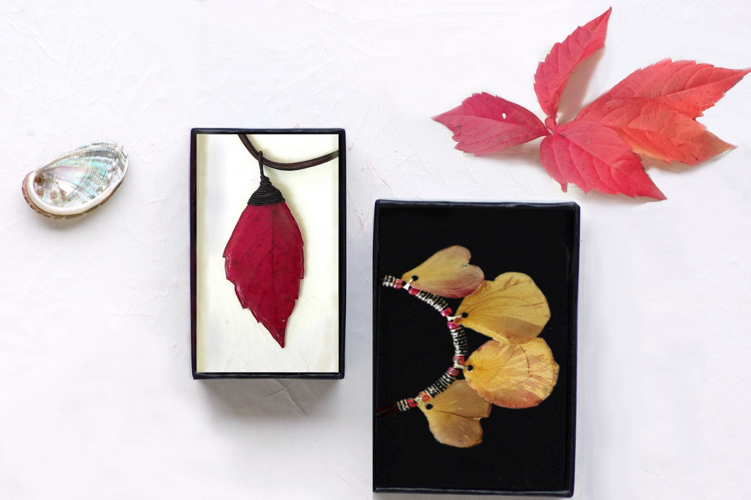 bijoux végétaux dans des écrins et un joli décor autour (coquillage, feuilles rouges)