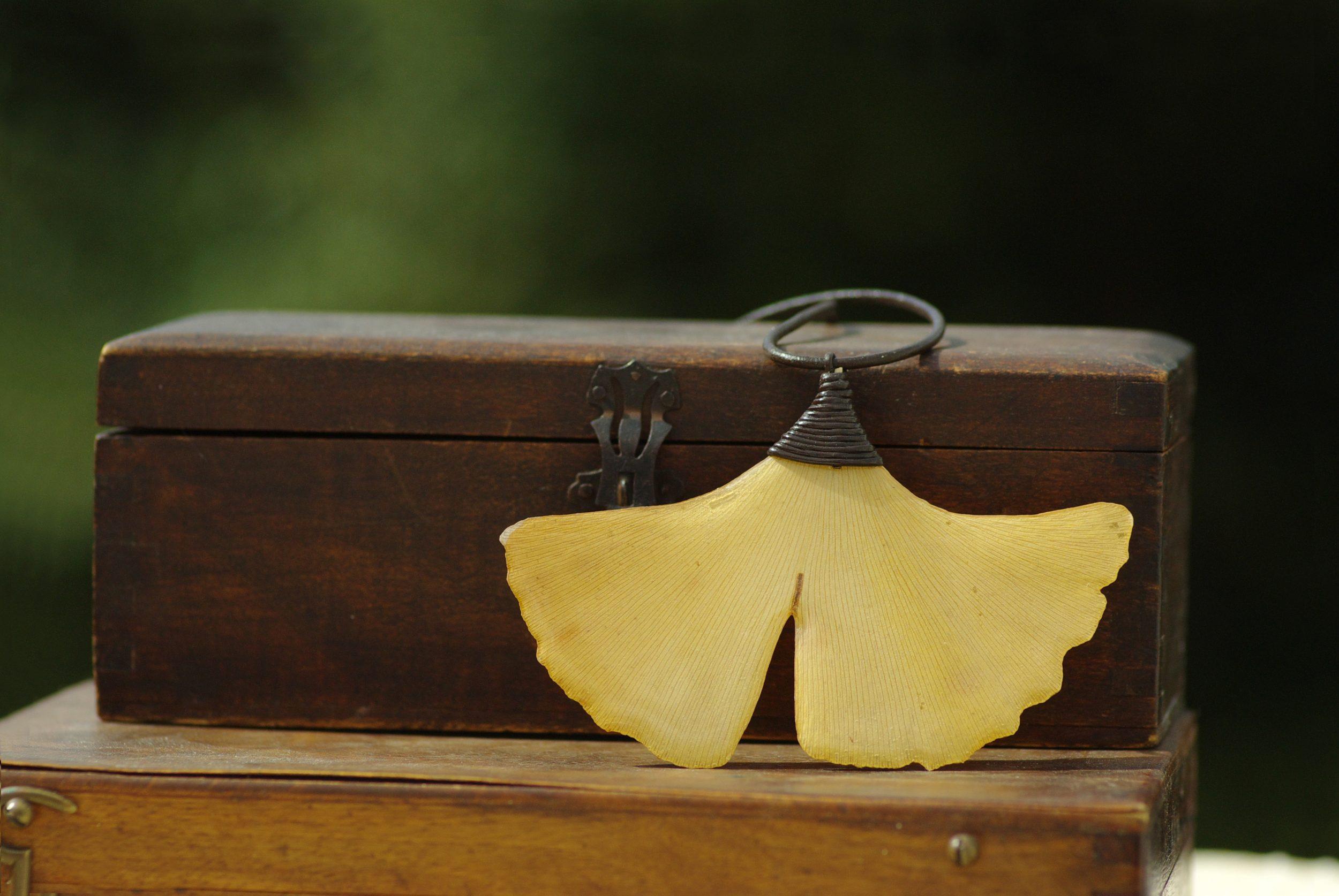 collier à pendentif végétal ginkgo biloba et cordon de liège, posé sur des coffrets de bois