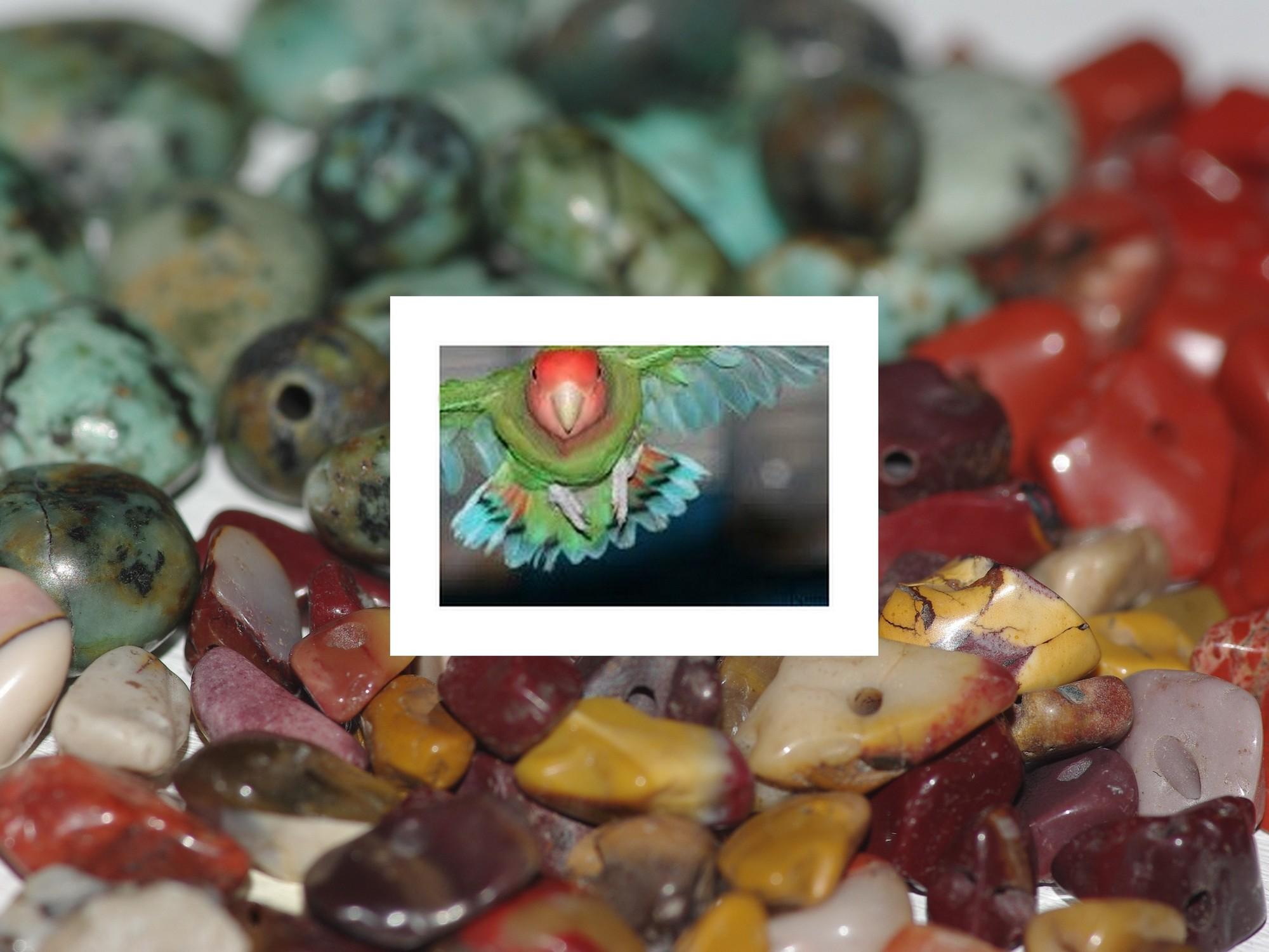 oiseau lovebird aux lumes multicolores et pierres fines assorties