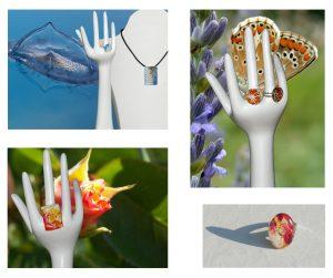 cadeau de bienvenue : bijoux avec cabochons de verre et photos nature
