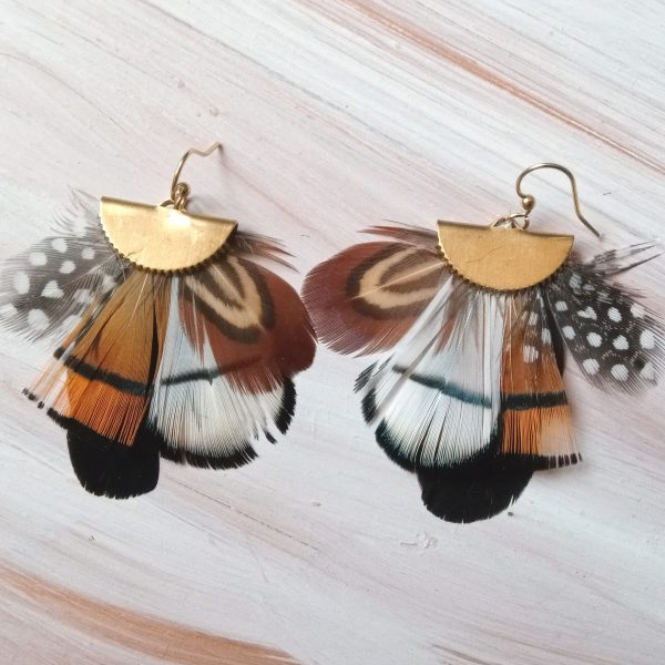 boucles d'oreilles aux plumes multicolores et graphoques