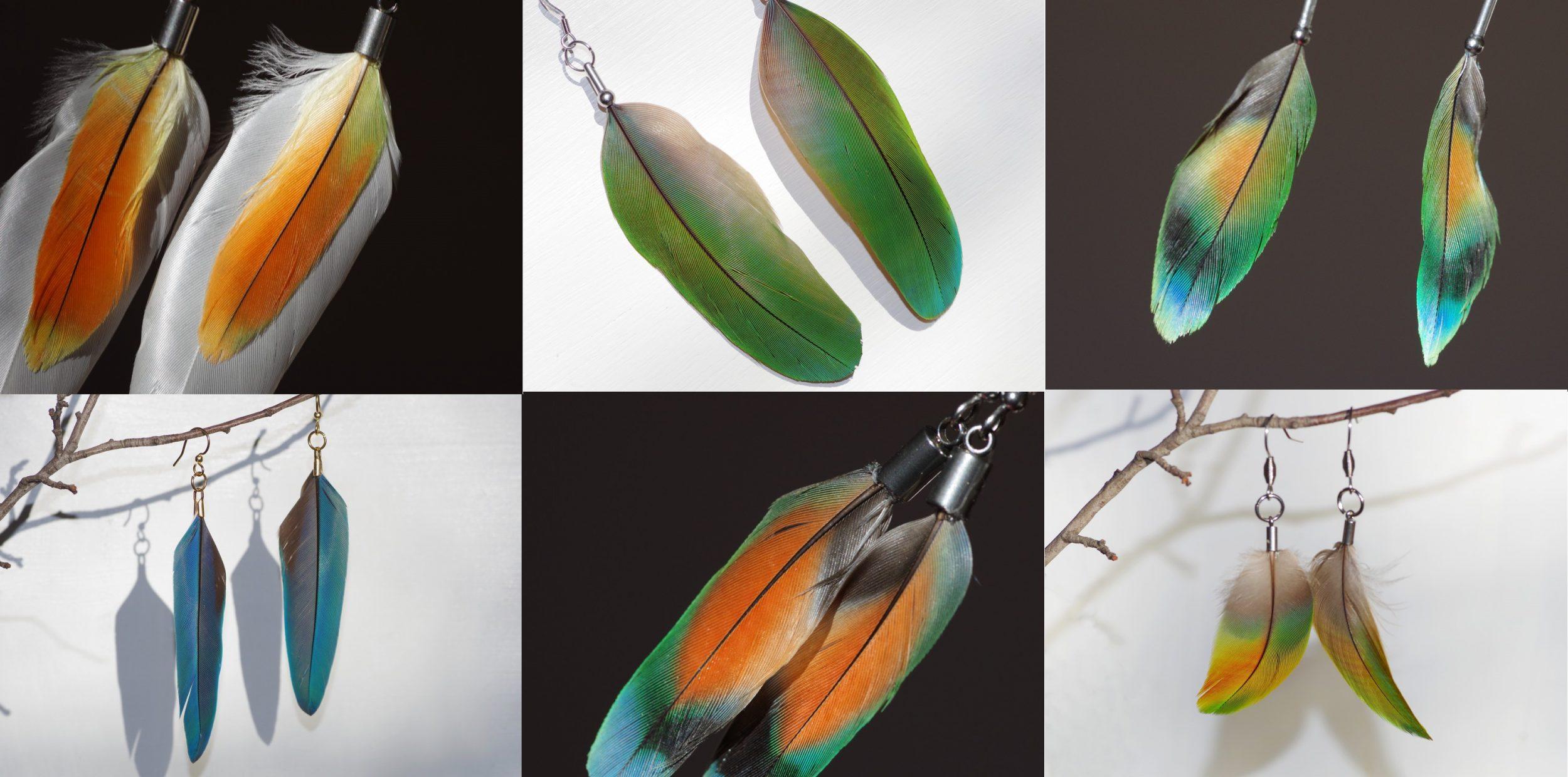 patchwork de boucles d'oreilles plumes. couleurs vives orange, vert, jaune ...