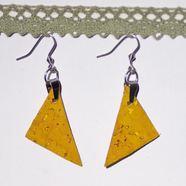 boucles d'oreilles en liège : triangle jaune et inox