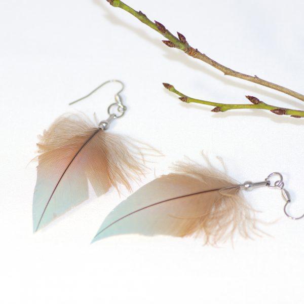 boucles d'oreilles à plume bleu gris en forme de flèche aux couleurs très douces. inox, pointe coupée