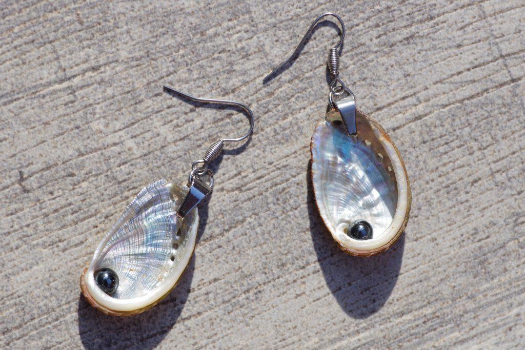 coquillages ormeaux à la nacre très brillante montés sur des boucles d'oreilles argentées