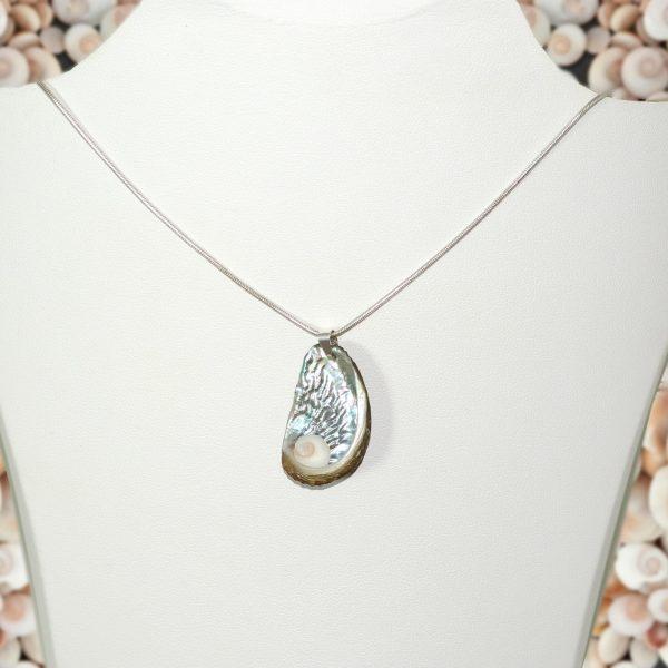 oeil de sainte Lucie au coeur d'un coquillage ormeau , sur une chaîne argentée