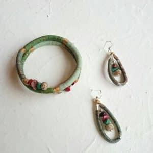 parure boucles d'oreilles et bracelet Mis Cork