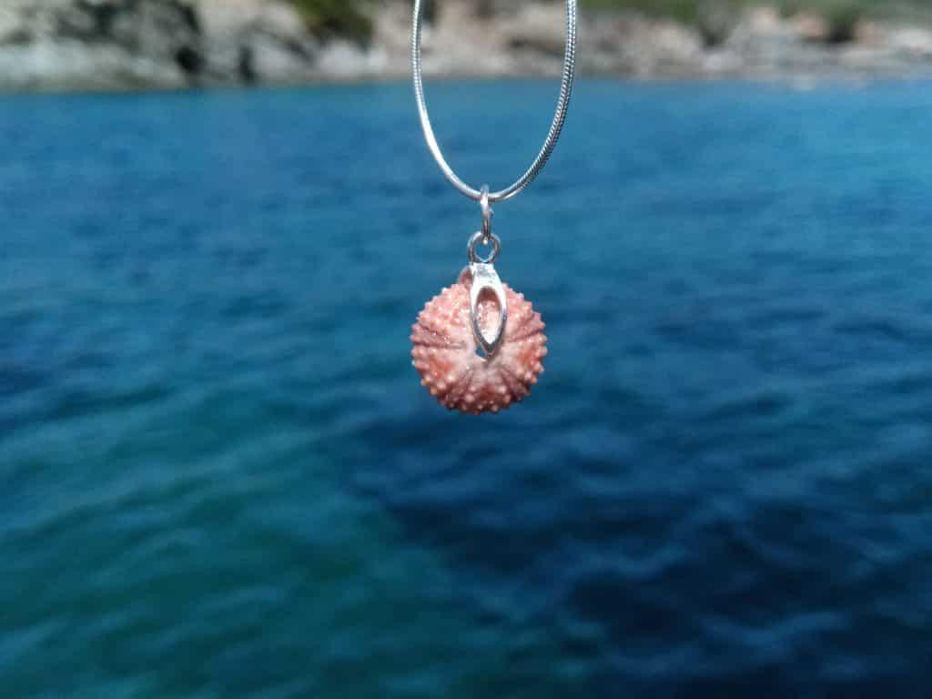 collier avec un petit pendentif mini oursin rose et une chaîne fine en argent