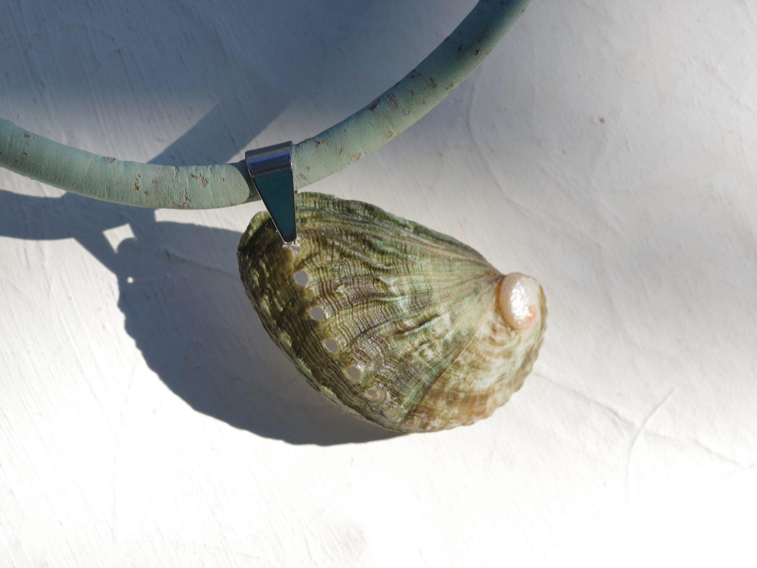 collier coquillage avec un pendentif gros ormeau vert et un tour de cou en liège vert