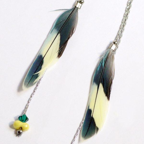 fines plumes bicolores : jaune pâle et bleu pétrole tirant sur le vert. Les plumes sont sur des chaînes très fines, une chaîne tient la plume l'autre est ponctuée de 2 petites perles assorties aux plumes.