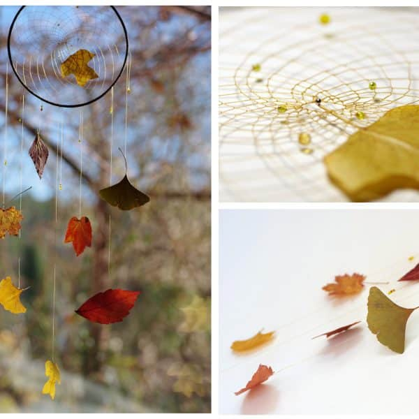 dreamcatcher végétal , les plumes ont été remplacées par des feuilles comme un envol d'automne