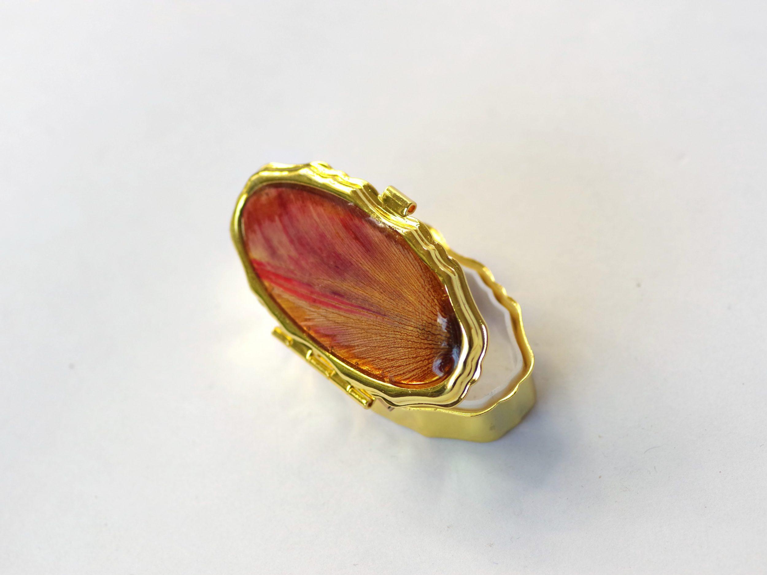 petite boite à pilumes ovale , boitier métallique doré et décor végétal rouge orangé, à l'intérieur : 2 compartiments