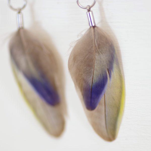 boucles d'oreilles aux tons doux : superposition de deux plumes une petite bleue et gris et un e un peu plus grande grise avec une bordure jaune en dégradé