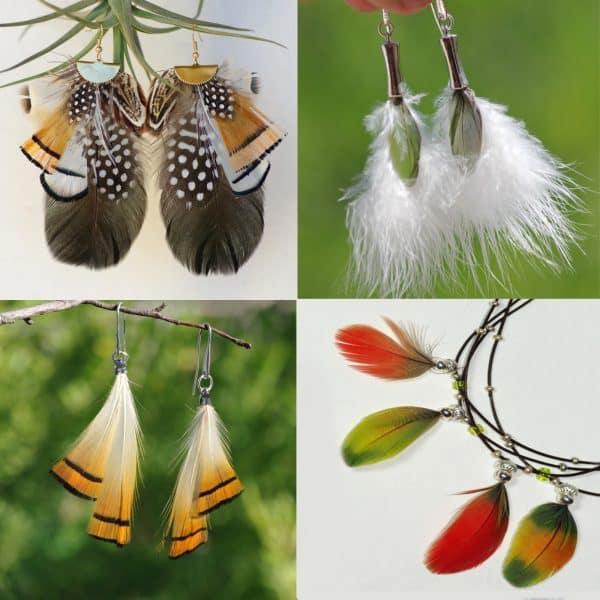 Bijoux au style ethnique, compositions de plumes