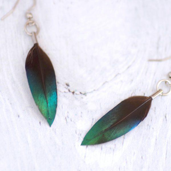 boucles d'oreiles avec une petite plume à reflets bleus pétrole, minimaliste, crochets argentés