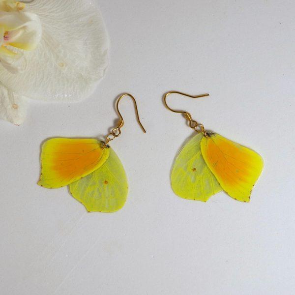 boucles d'oreilles réalisées avec des ailes de papillon orange et jaune, crochets dorés