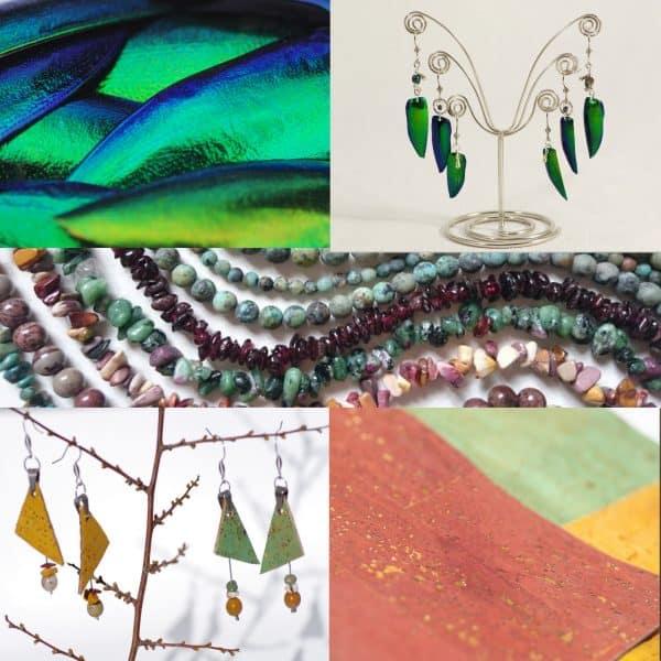 Bijoux variés, autres matériaux naturels