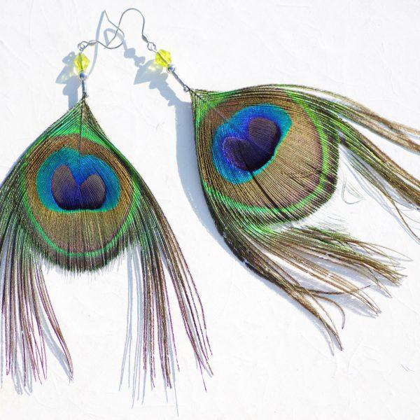 boucles d'oreilles oeil de paon, plumes longues à barbes partielement coupées.
